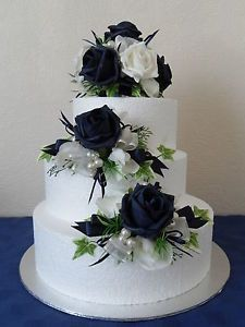 Navy Blue And Ivory Wedding Cake About Three Silk