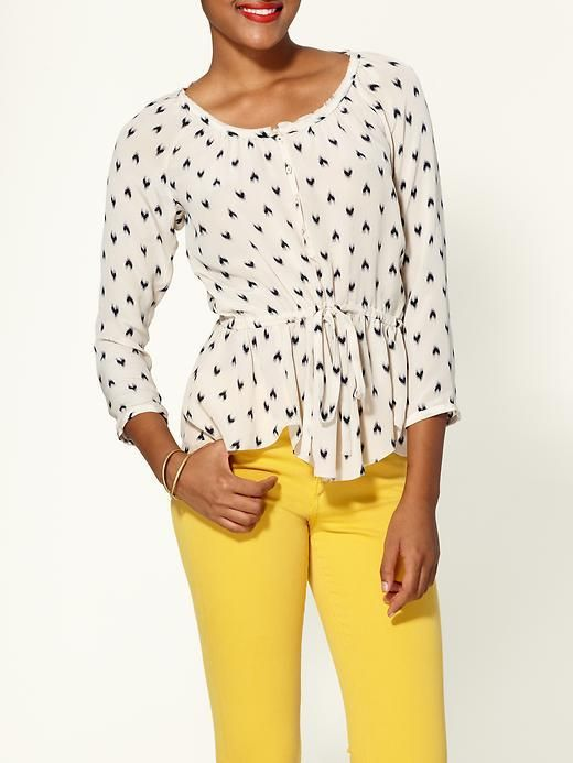 Ikat Heart top with yellow jeans!