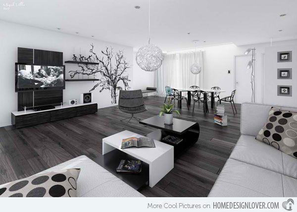 20 Modern Contemporary Black And White Living Rooms Home Design Lover White House Interior White Living Room Decor Modern White Living Room