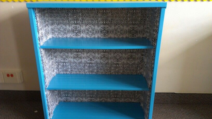 Metal Bookshelf Makeover With Duct Tape And Kitchen Drawer L Stick Paper