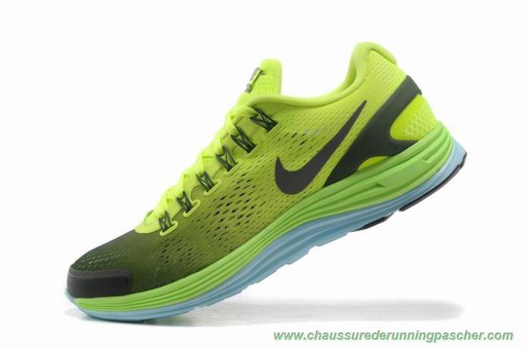 Nike Lunarglide 4 Mesh Deep Bleu Fluorescent Jaune Chaussure De