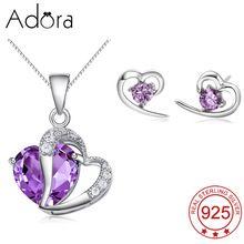 Adora Romantic Fashion Luxury 925 Sterling Silver Jewelry Sets For Women Alexandrite Heart CZ Wedding Necklace/Stud Earrings