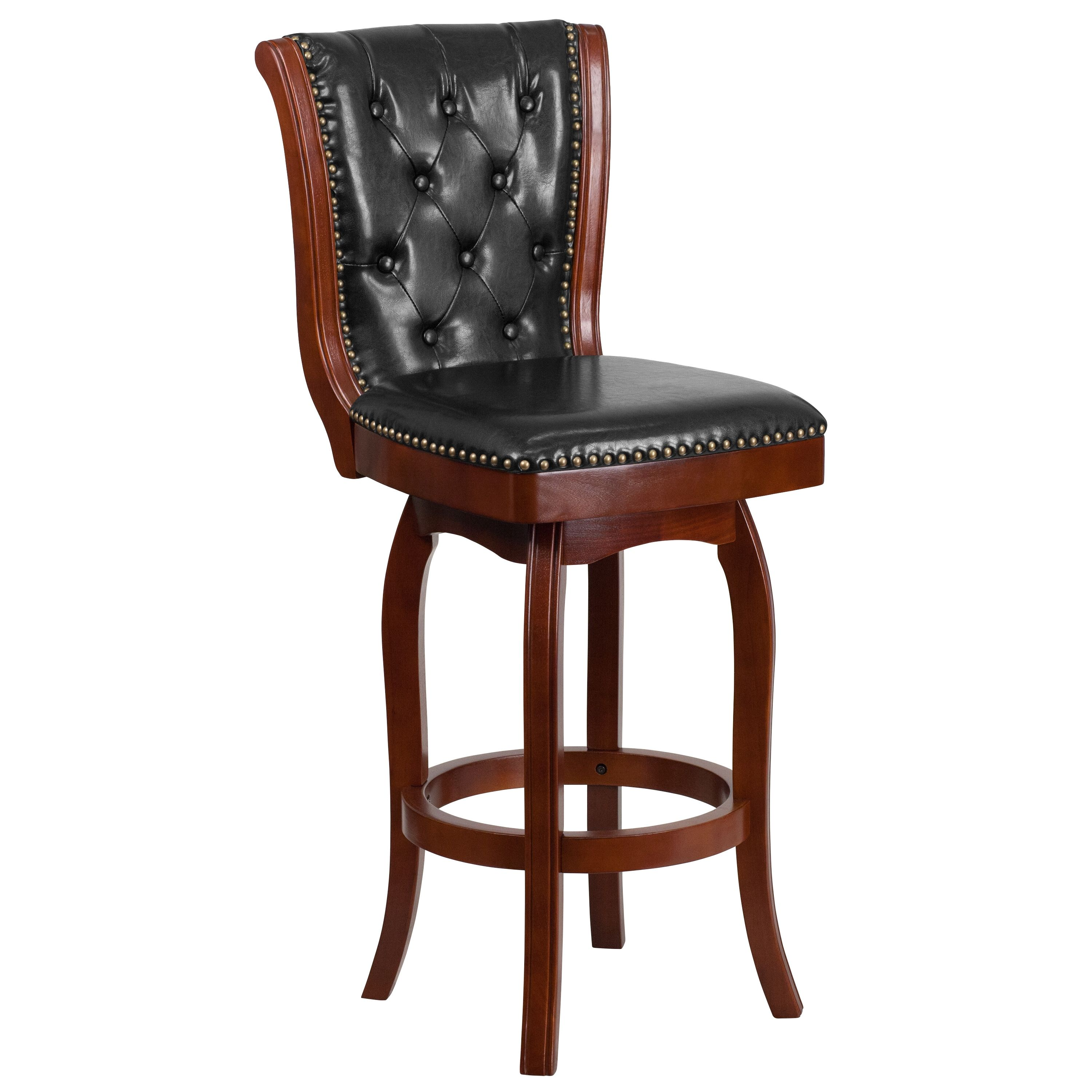 Lancaster Home 30 Inch High Wood Barstool With Leather Swivel Seat