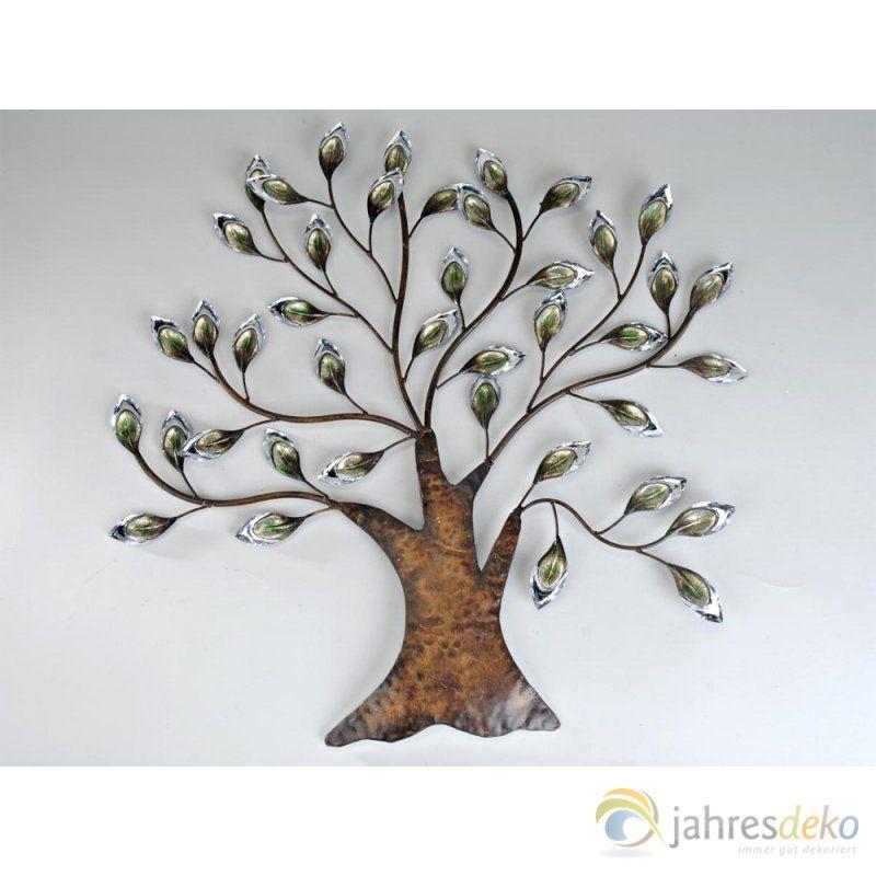 Wanddeko Baum 65x66cm aus dunklem Metall mit silbernem... | bedroom ...