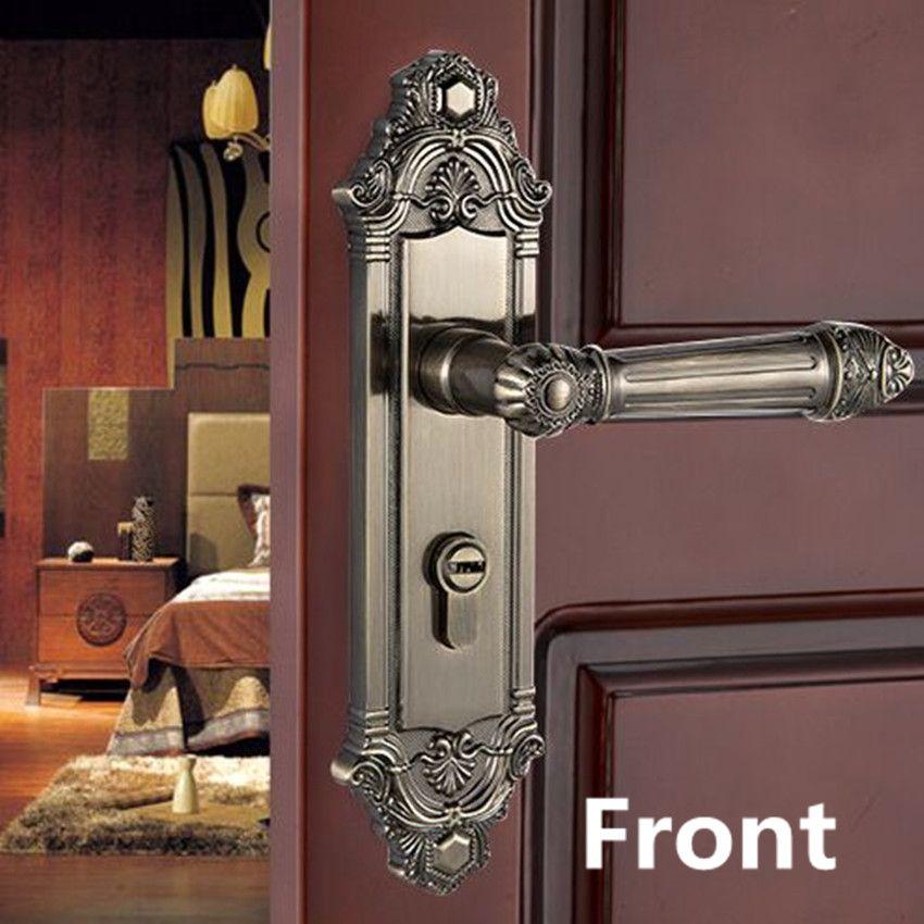 European Style Retro Quiet Mechanical Interior Door Lock Bronze Bedroom Study Kitchen Bathroom Solid Wood Door L Solid Wood Doors Retro Interior Bronze Bedroom