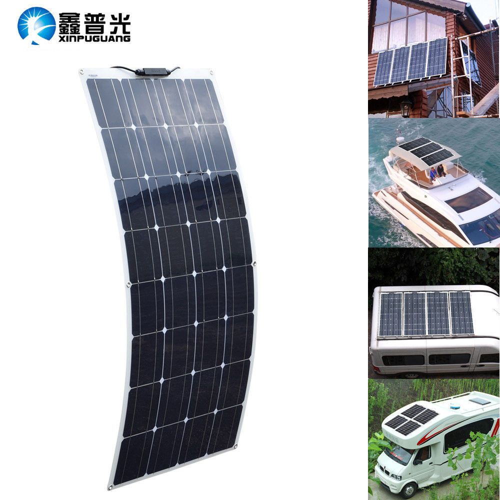 Cheap Sale 100w 12v Flexible Solar Panel Kit Caravan Boat Mono Battery Charging Camping Electronics Solar Panels