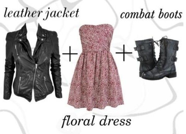 Leather Jacket, Skater Dress, Combat Boots