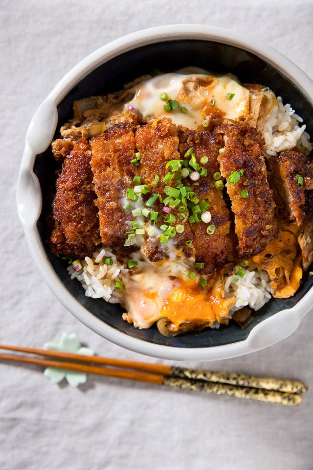 japanese dish katsudon rice bowl topped with fried pork