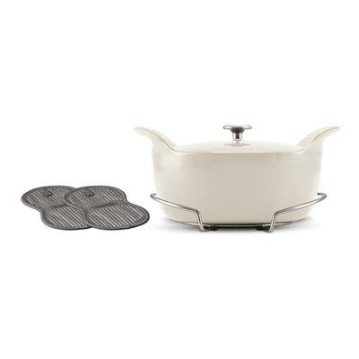 Tramontina 80131091ds Limited Editions Enameled Cast Iron Series 1200 Covered Oval Dutch Oven Eggshell L Tramontina Dutch Oven Cast Iron Enameled Cast Iron