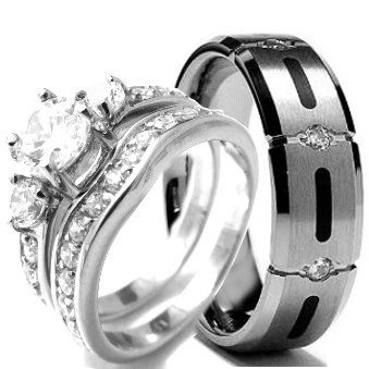 wedding rings set his and hers titanium stainless steel engagement bridal rings set - Titanium Wedding Ring Sets
