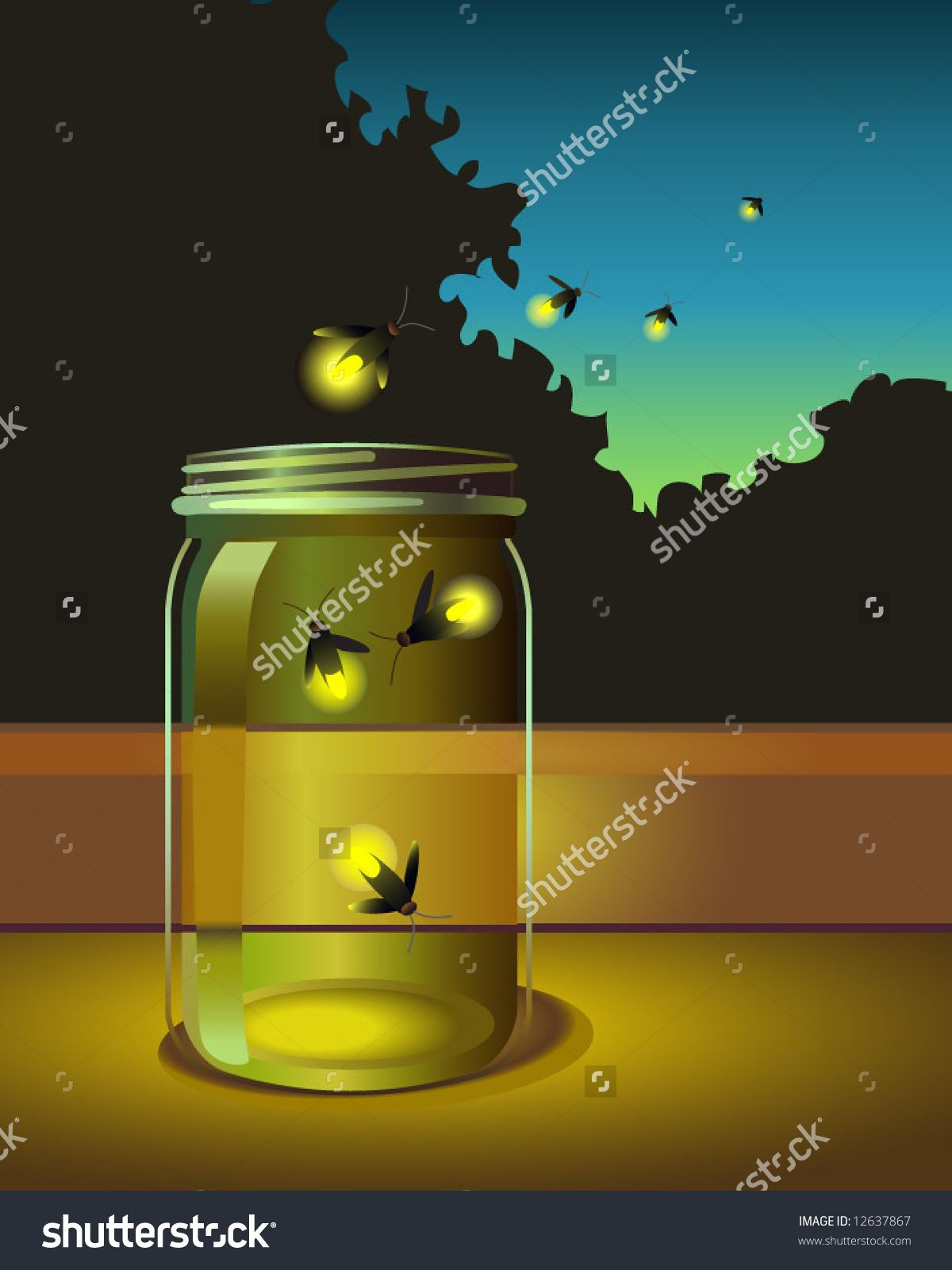 vector of fireflies escaping a glass jar | Firefly Frolic ... for Firefly Insect In Jar  104xkb
