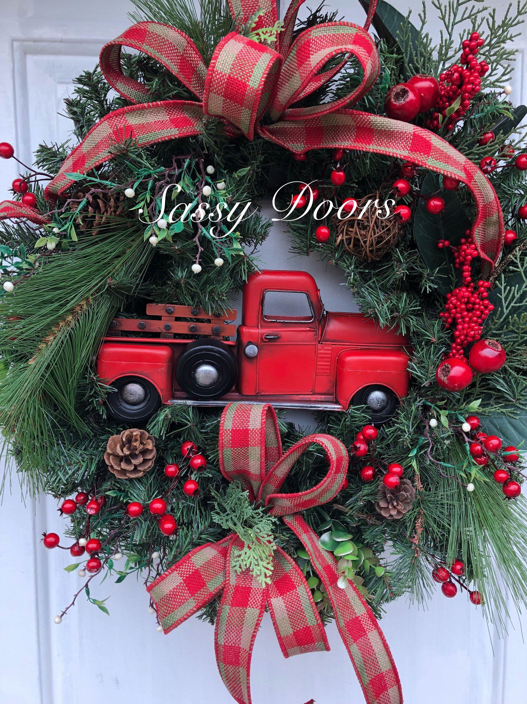 Red Truck Wreath Buffalo Plaid Rustic Christmas Wreath