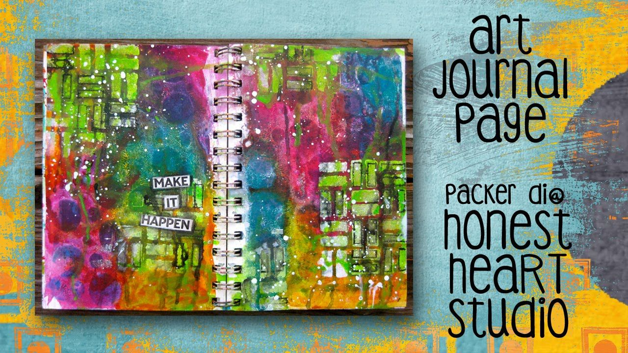 ***Gesso/stencil baby wipe removal background & also stenciled gesso & finger spread paint - Make It Happen - an art journal page