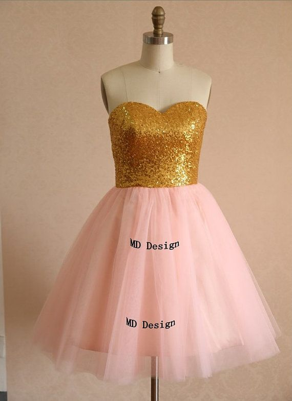 Gold sequins blush pink tulle bridesmaid dress prom dress for Blush and gold wedding dress