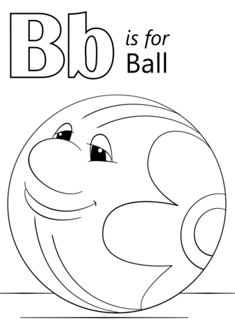 Letter B is for Ball coloring page from Letter B category ...