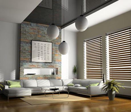 Sal n moderno con cortinas venecianas de madera salon - Cortinas salon moderno ...