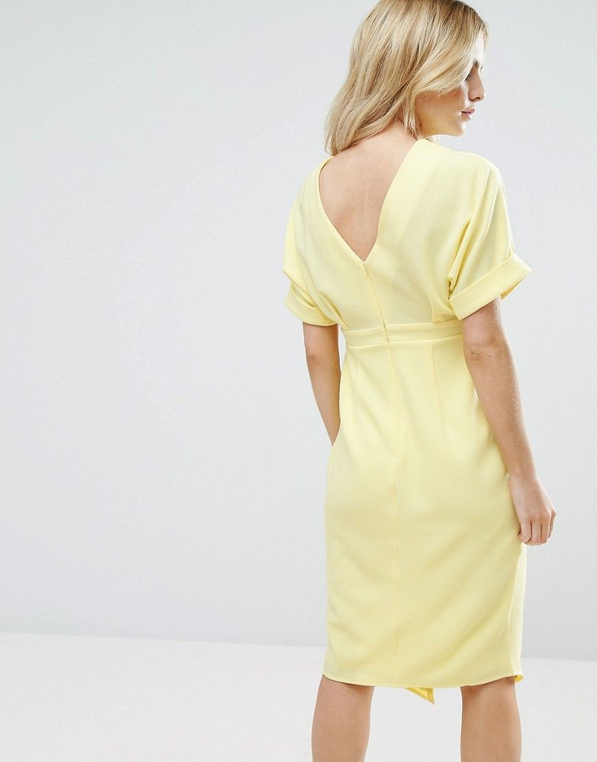 H&m yellow lace dress  ASOS PETITE Smart Woven Dress with V Back and Split Front  Yellow