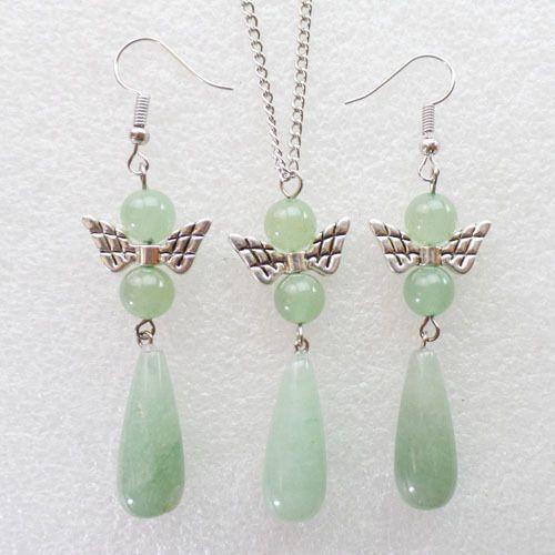Aventurine Gemstone - Green Teardrop Pendant and Angel Earring Set