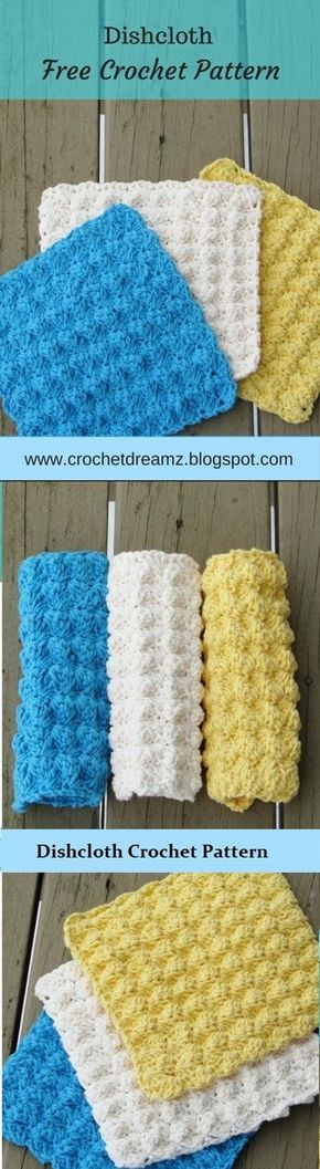 Dishcloth or Washcloth Crochet Pattern, Free Crochet Pattern | Puntos