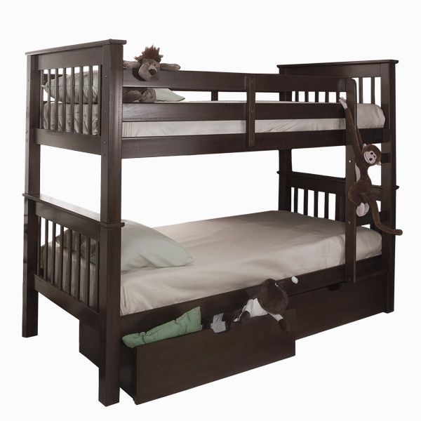 Shannon Twin Bunk Bed With Storage Drawers Espresso Son S Room