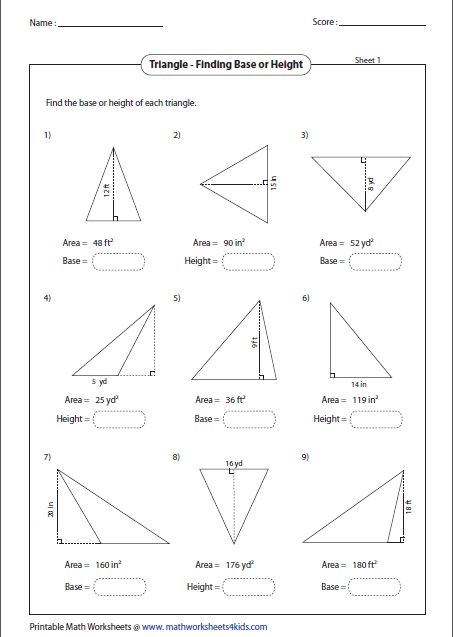 Missing Base Or Height Geometria Pinterest Worksheets