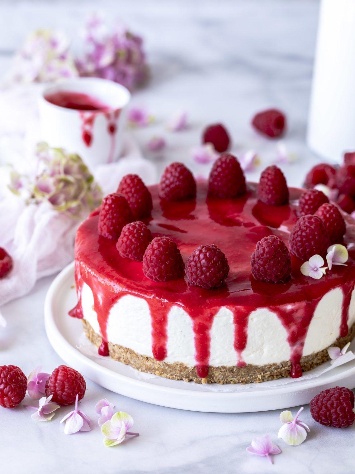 Photo of Raspberry yogurt cake without baking summer cake fridge cake no bake no-bake …