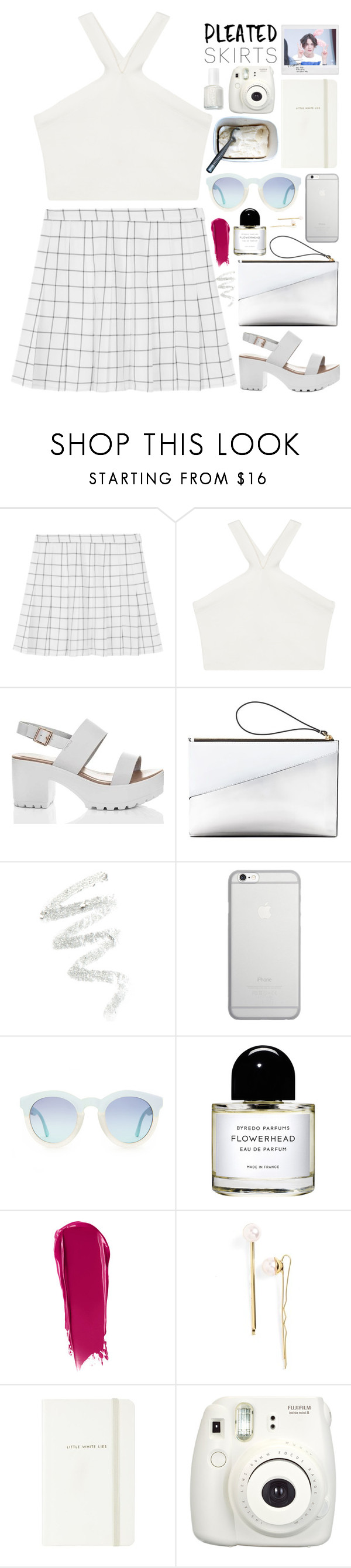 """pleated skirts"" by thelipglossgirl ❤ liked on Polyvore featuring BCBGMAXAZRIA, Marni, Cynthia Rowley, Native Union, Byredo, NARS Cosmetics, L. Erickson, Kate Spade, Polaroid and Essie"