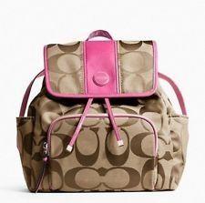 Coach Signature Stripe Backpack 21928 Khaki Mulberry   Purses ... 608e275b94