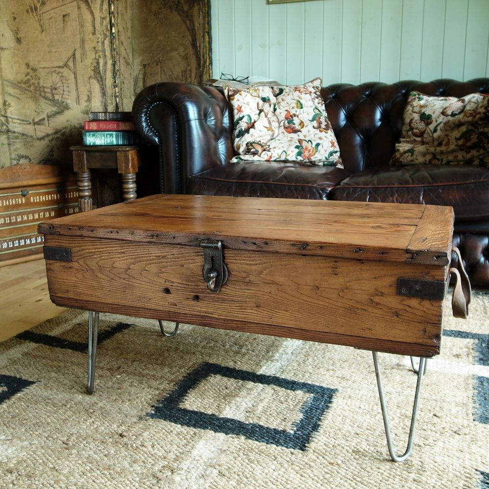 Antique Trunks As Coffee Tables: VINTAGE MILITARY CHEST Coffee Table RETRO 40s INDUSTRIAL