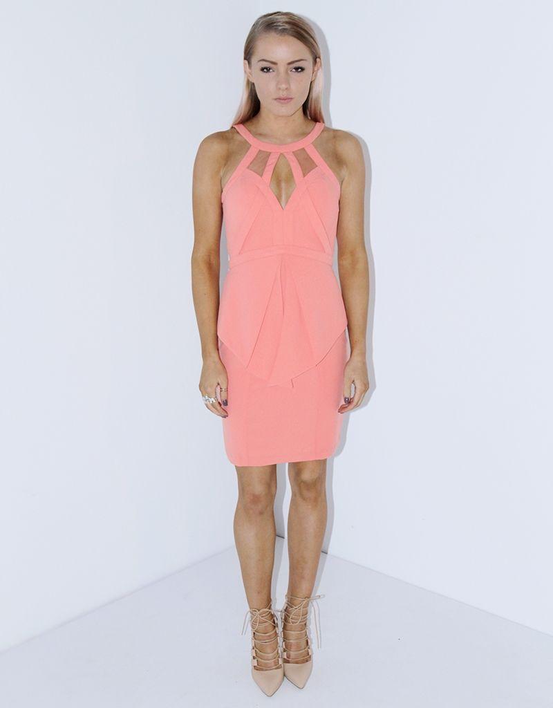 ESHA BEADED MINI WITH PEPLUM NON-BEADED | bridesmaid Dresses | Pinterest