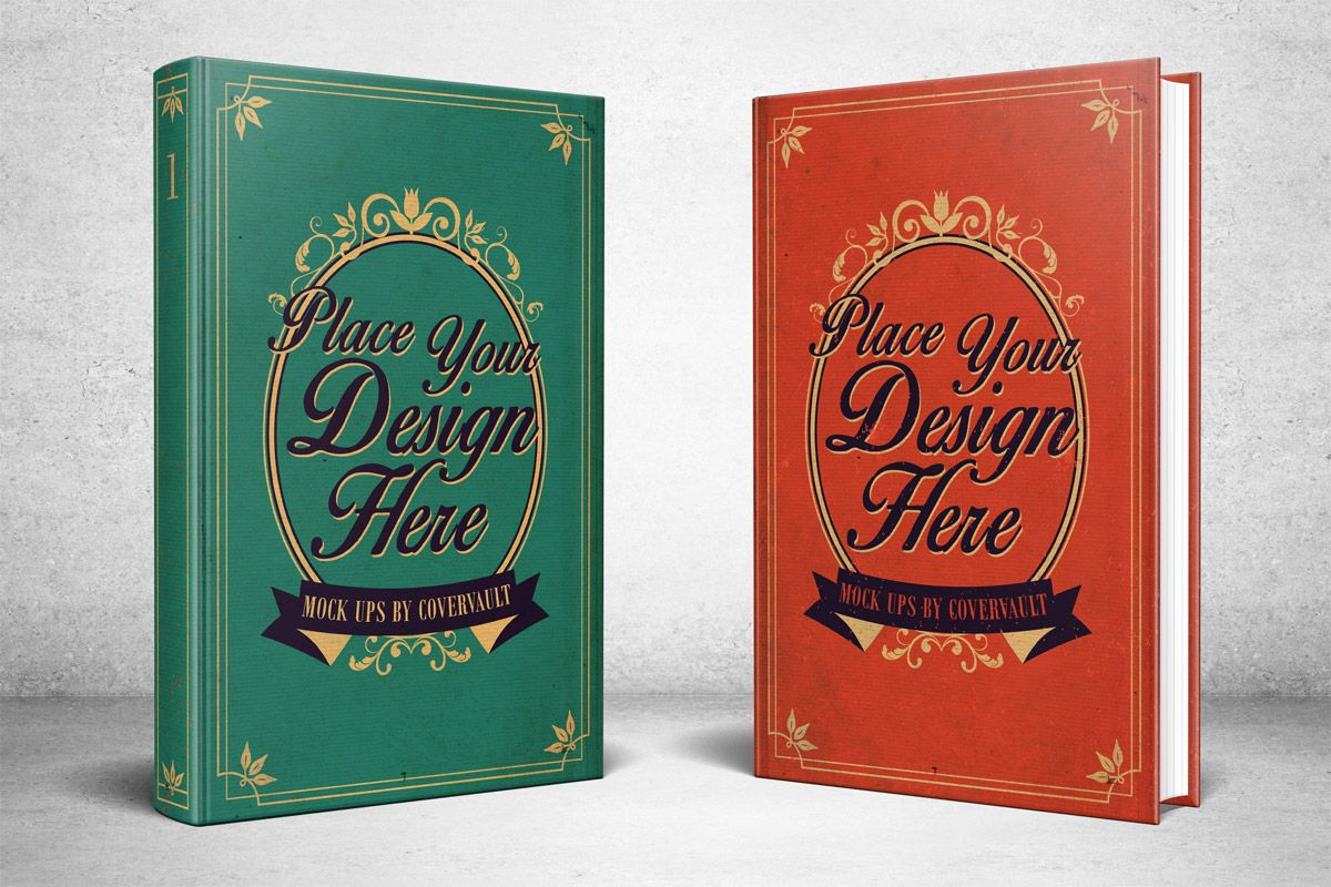 Two 6 X 9 Hardcovers Standing Psd Mockup Covervault Book Cover Mockup Mockup Free Psd Book Cover Template