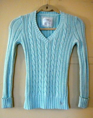 Girls Justice Sky Blue Sweater Size 12 55 Cotton 40 Acrylic Silver ...