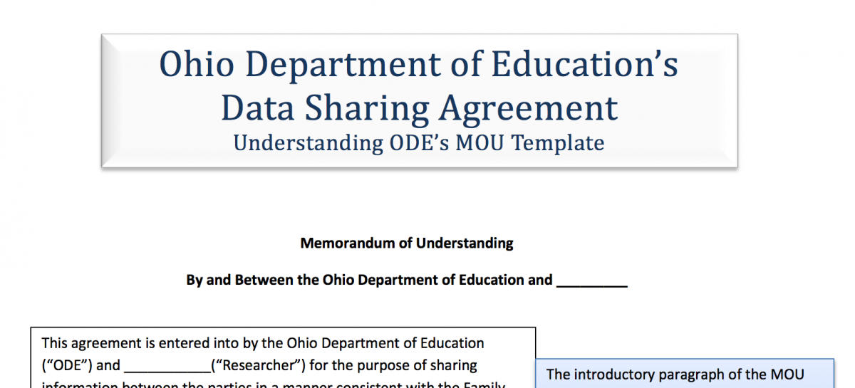 Model Ohio Department Of Educations Data Sharing Agreement Ferpa