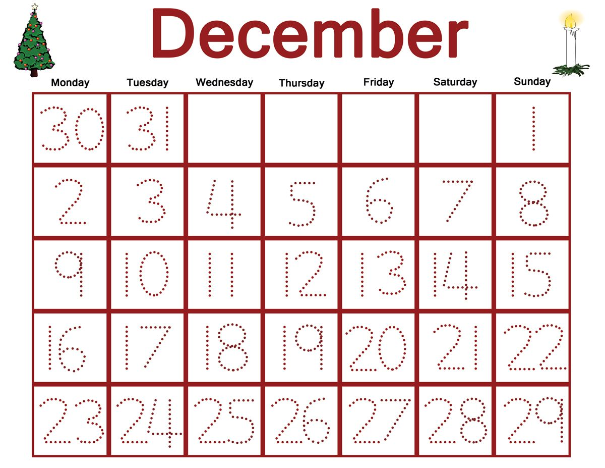 Free Preschool December Traceable Calendar