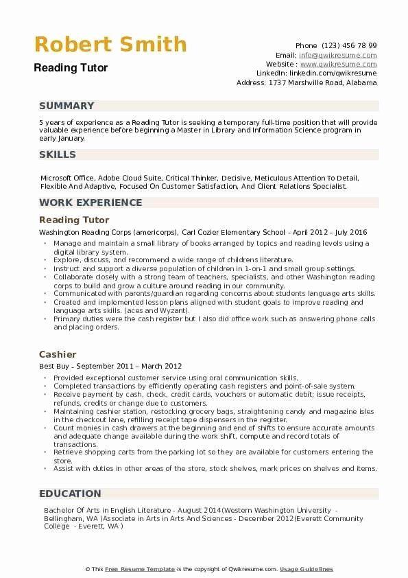 20 tutor job description resume