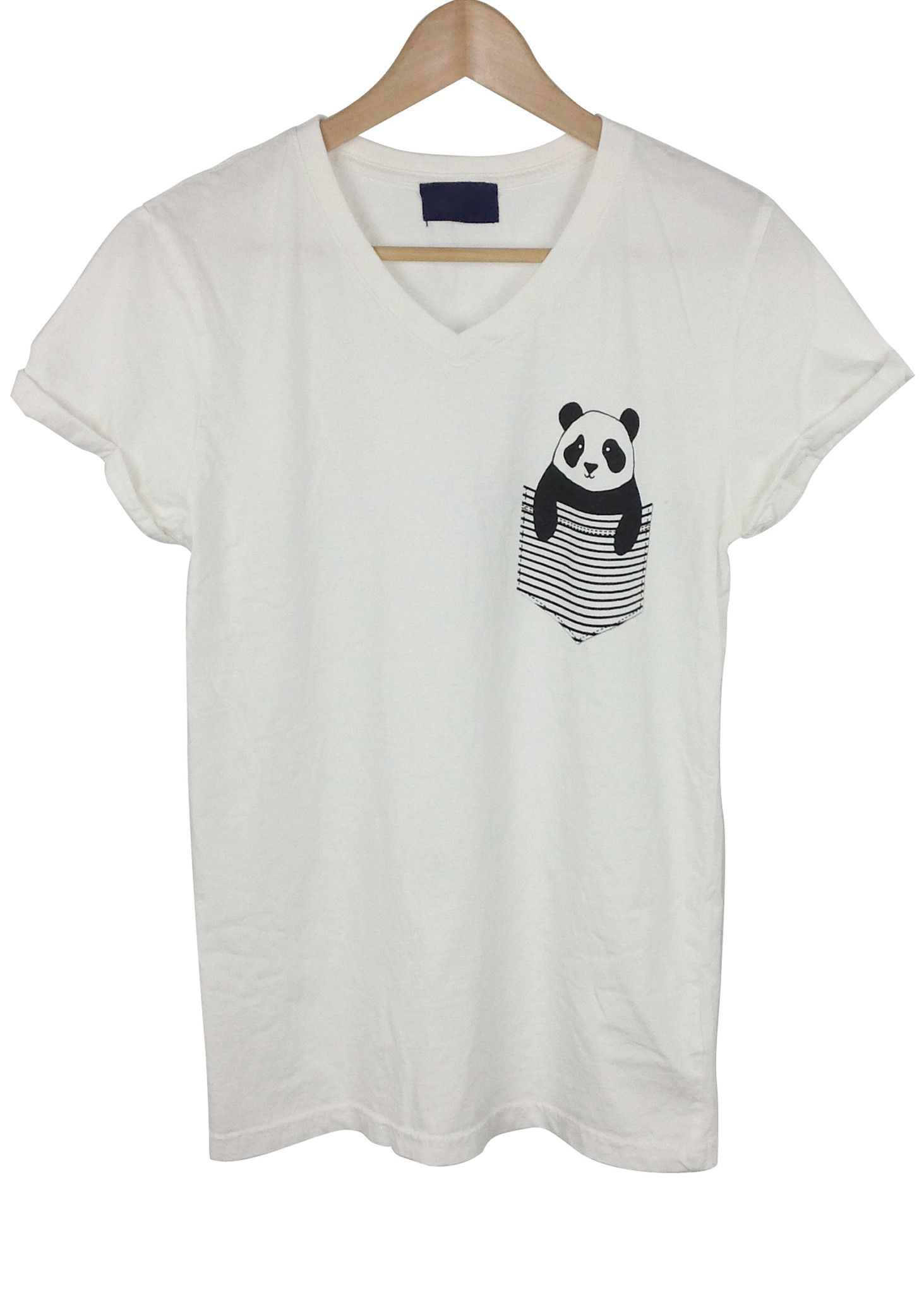 Design t shirt with pocket - Panda In The Pocket Graphic V Neck Short Sleeves T Shirt