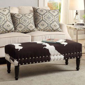 Convenience Concepts Faux Cowhide Upholstered Bench Cowhide Bench Faux Cowhide Cowhide Upholstery