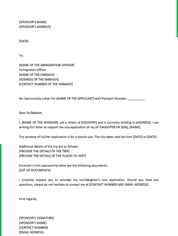 Sponsorship Letter for Visa from Father Template