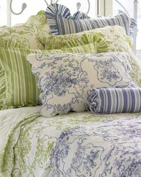 pinecone hill cottage toile blue quilt pine cone hill bedding pine cone hill quilts - Pine Cone Hill Bedding