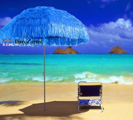 Beach Patio Garden Hawaii Paraso Sun Umbrella Sunshade Hawaiian Folding  Tilting (Blue): Amazon