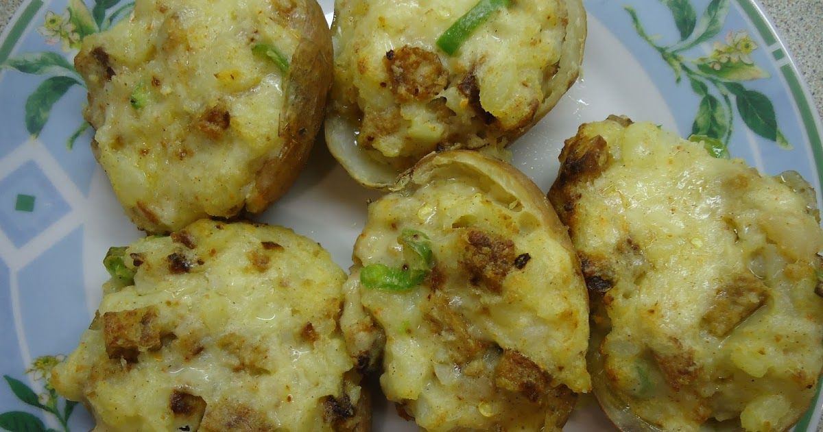 Stuffed Potato Skins ~ This recipe is for something a little different from the usual baked potato.