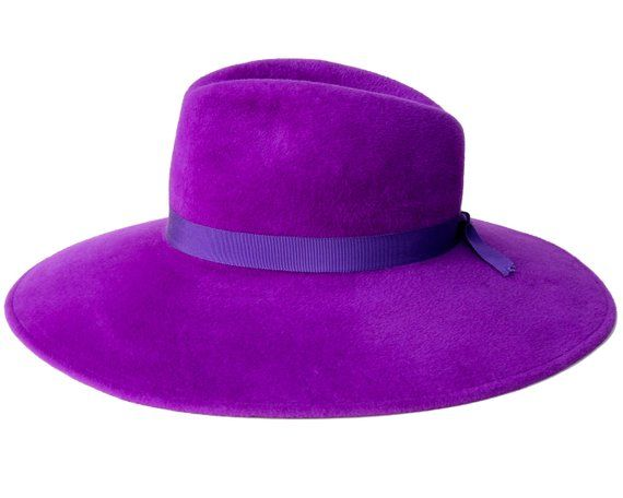 e4aed16bb Purple Hat Handmade Women's Hat Wide Brim Fedora Hat Ultraviolet ...