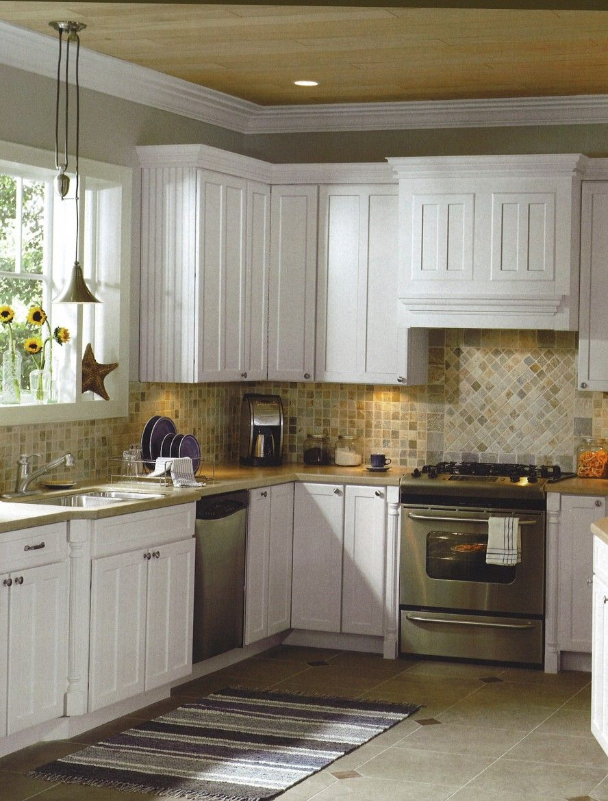 Sensational Country Kitchen Designs With Unique Features: Astonishing  Country Kitchen Designs Tile Backsplash White Cabinets And Beige Countertop  Decoration ... Awesome Design