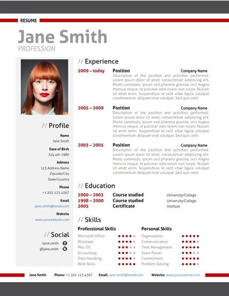 find the red modern resume template on  cvfolio com