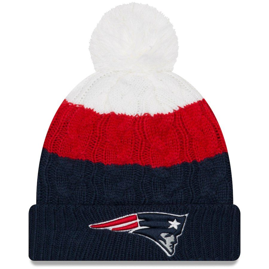 Women s New England Patriots New Era White Navy Layered Up 2 Cuffed Knit Hat  with Pom 28622d3e6