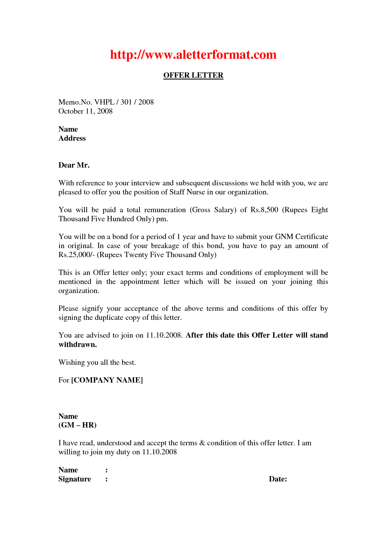 Job offer agreement employment contract letter sample - Interior design letter of agreement ...