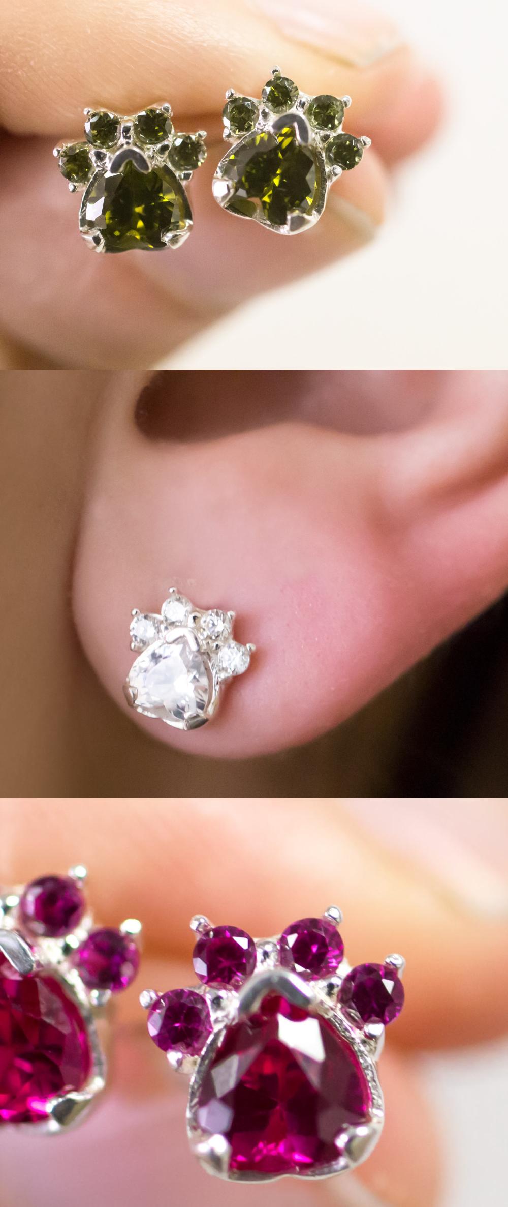 Paw Print Birthstone Earrings | Animal Rescue Jewelry ...