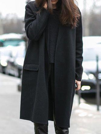 Lose Mantel Langarm mit Taschen-schwarz 35.54