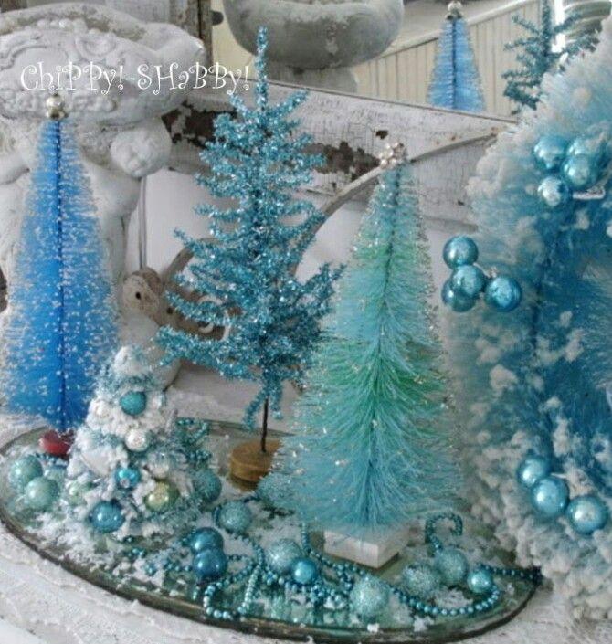 Blue and white Guest Room Pinterest Bottle brush trees