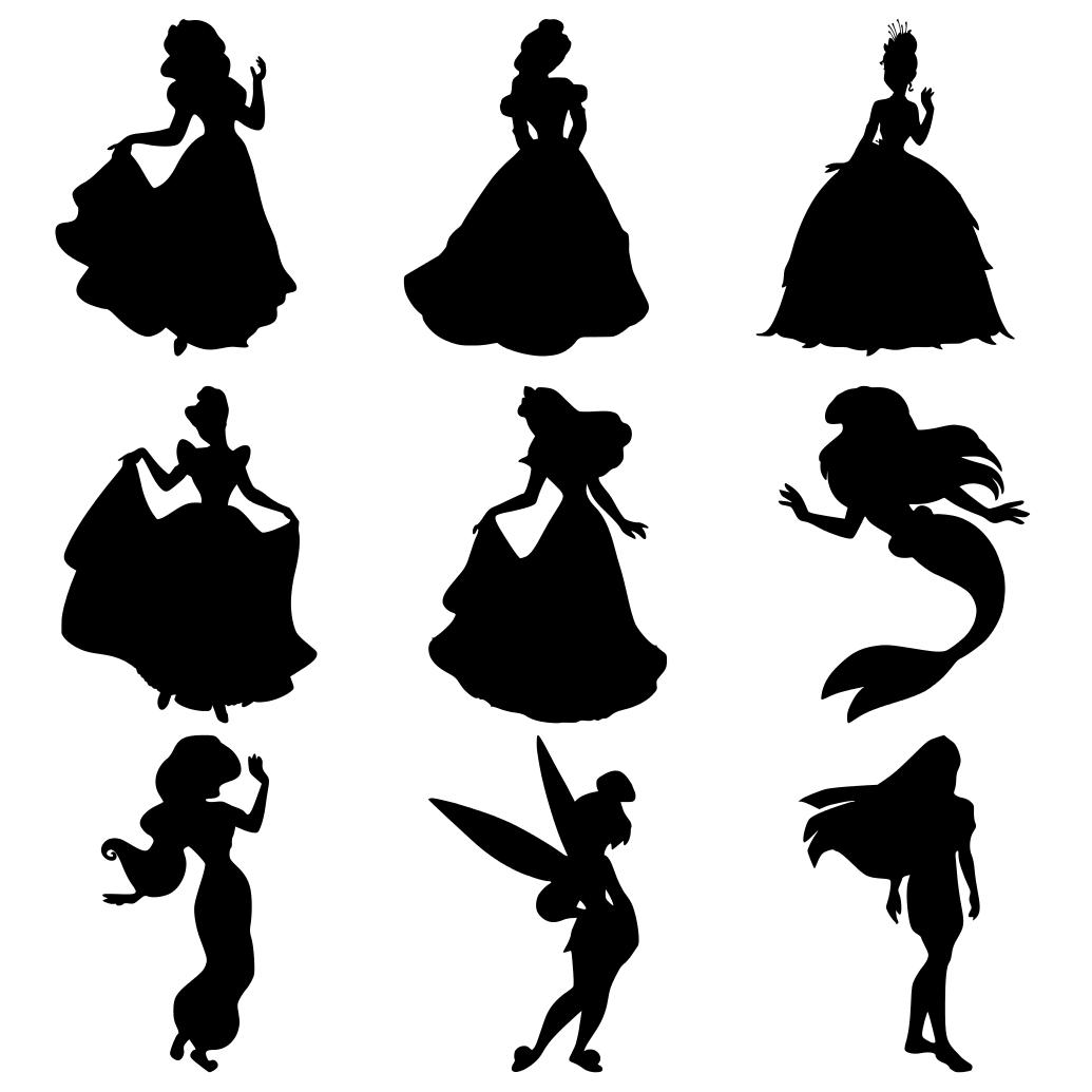 Disney Princess Silhouettes: Snow White, Belle, Tiana ...